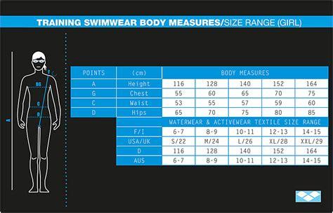 Size Chart Sac Competition Swimwear arena junior swimwear size chart