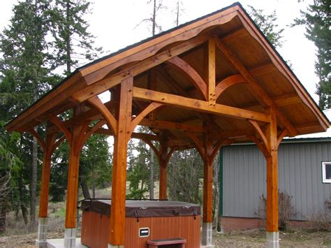 Attached Carport timber frame hot tub pavilion handcrafted wood