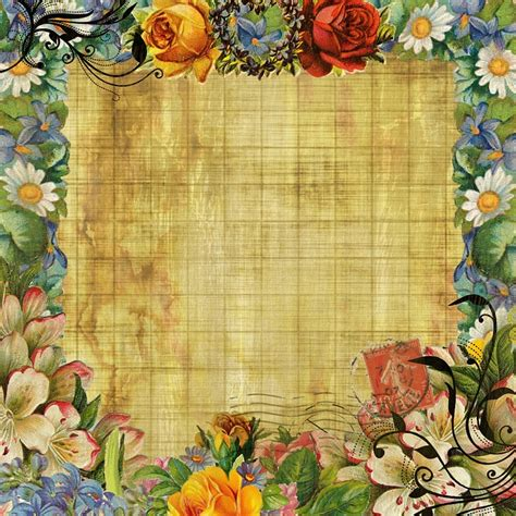 free illustration vintage background flower design