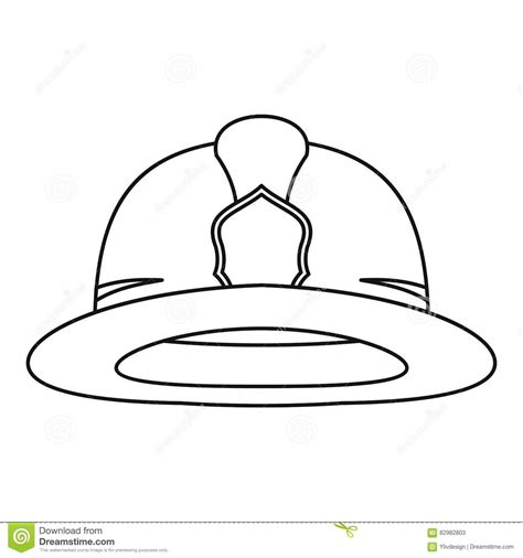 Fireman Helmet Icon Outline Style Stock Vector Image Fireman Hat Coloring Page 2