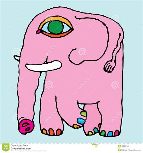 pink elephant simple hand drawing stock images image