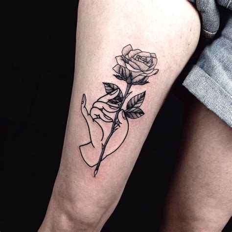 rose tattoo on thigh on thigh best ideas gallery