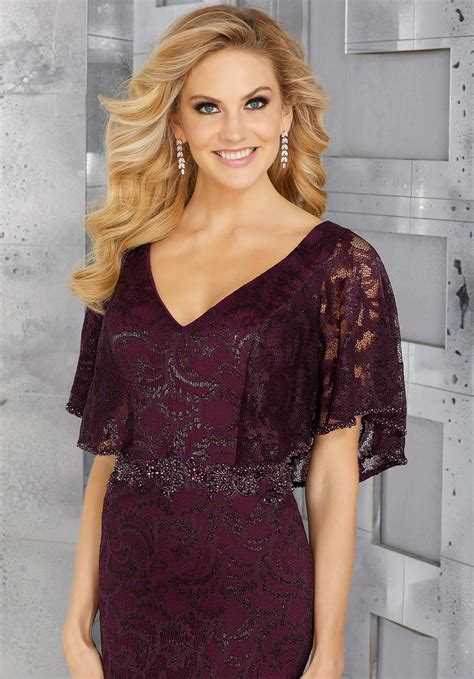 beaded waistband metallic lace special occasion gown with flutter sleeves