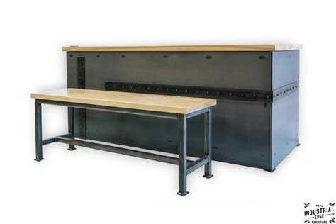 ash steel desk with client bench real industrial edge