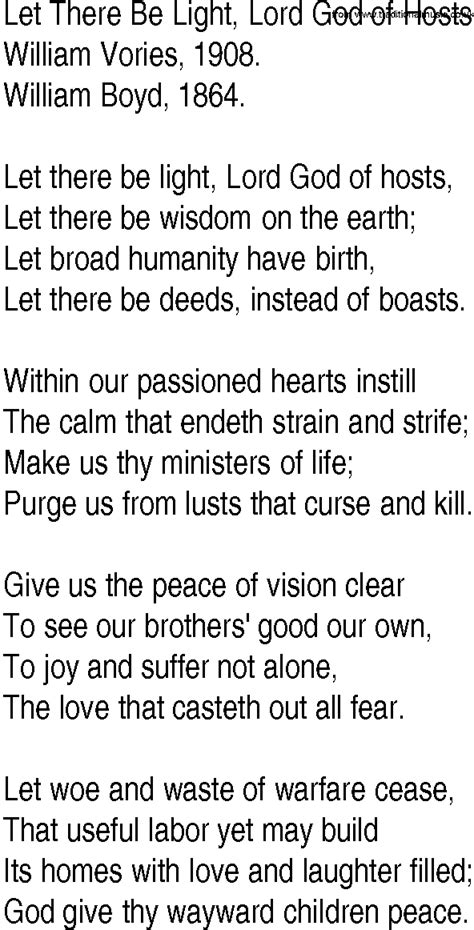 hymn and gospel song lyrics for let there be light lord