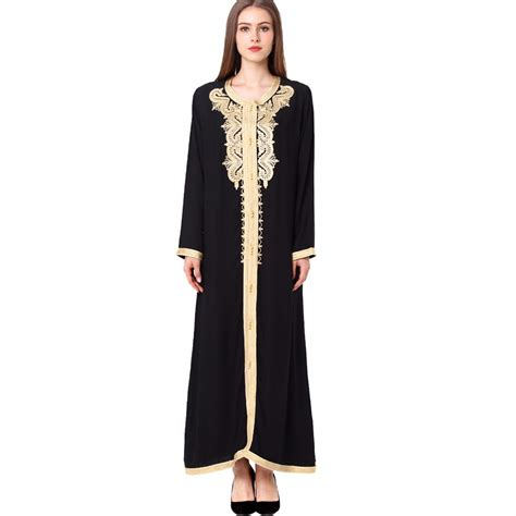 muslim dresses with embroidery women maxi long sleeve long vintage dress embroidery