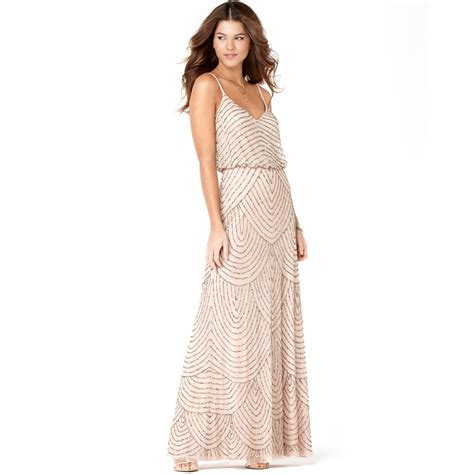 blush beaded dress papell spaghetti beaded blouson gown in