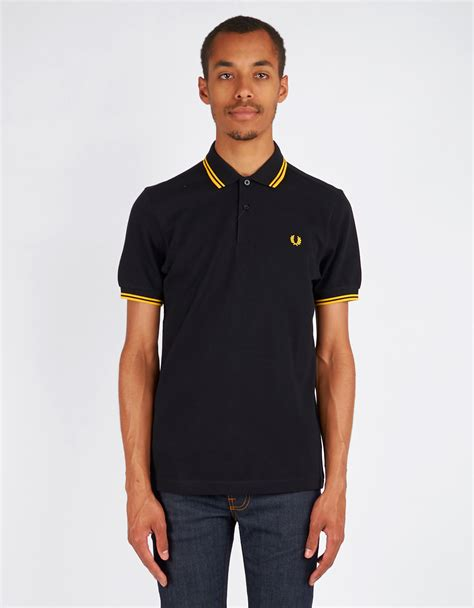 Sepatu Prewalker Polo Black Yellow s fred perry slim fit tipped polo black new yellow garmentory