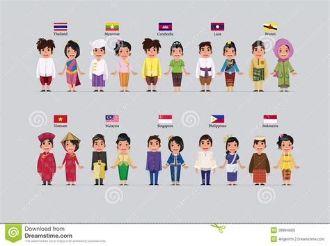 national costumes of asean member states asean boys and girls stock illustration image 38894669