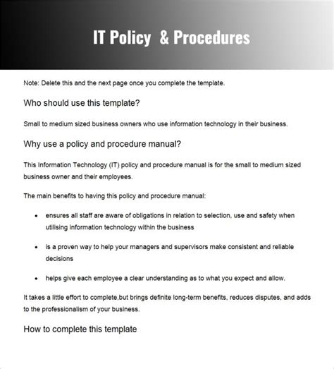 company procedures manual template policies and procedures template template business