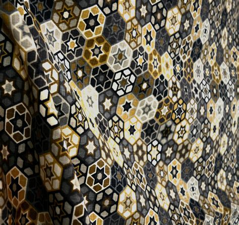 black and gold curtain fabric microfibers black grey brown and gold geometric