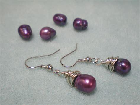 how to make ear wrap jewelry wire wrapped purple pearl earrings tutorial