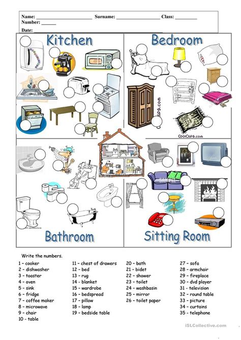 8 Important Pre Workout Activities by Rooms And Furniture Worksheet Free Esl Printable