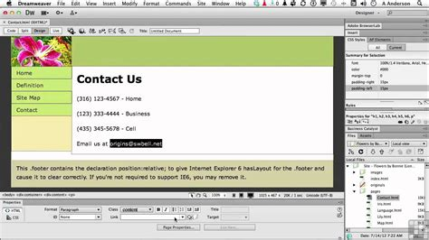 tutorial in dreamweaver cs6 dreamweaver cs6 tutorial adding an email link