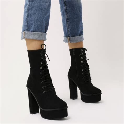Lace Up Platform Boots heartless lace up platform ankle boots in black faux suede