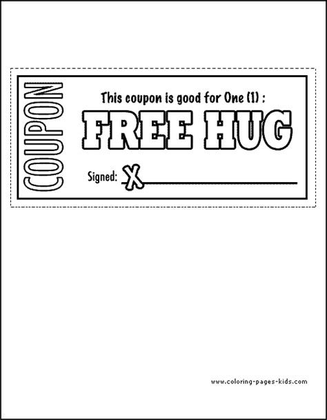 printable free hug coupons father s day color page coloring pages for kids
