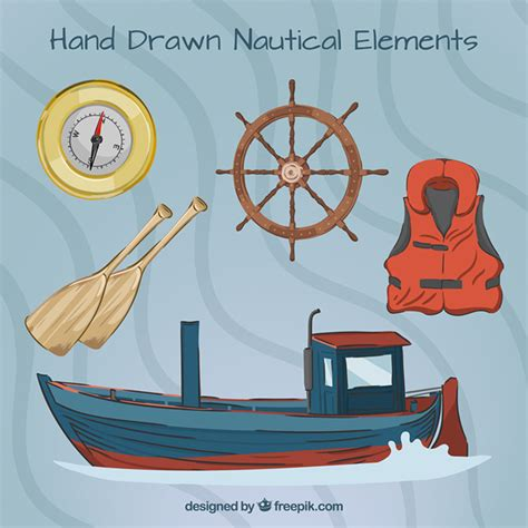barco marinero dibujo barco dibujado a mano con elementos marineros descargar