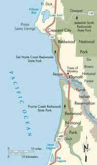 map of oregon california coast pacific coast jedidiah smith redwoods state park to