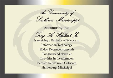 college graduation invitations templates items similar to of southern mississippi