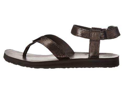 Teva Original Sandal by Teva Original Sandal Leather Metallic Black Zappos