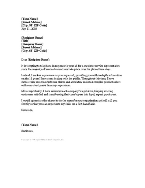 cover letter exle for customer service representative experienced customer service rep cover letter cover