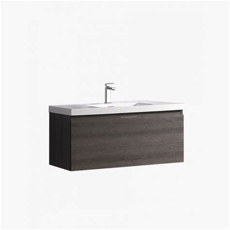aquaterra meuble salle de bain 100 cm avec 1 tiroirs gris