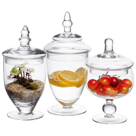 decorative apothecary jars 3 set decorative clear glass apothecary jars wedding