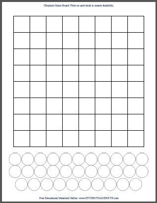 checkers board template diy checkers print your own checkerboard student handouts