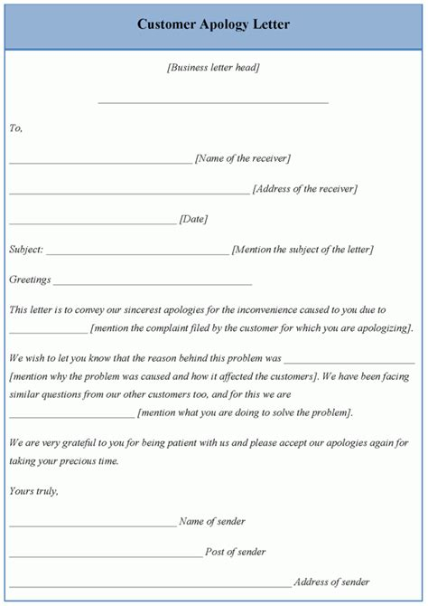 customer service message template letter template for customer apology template of customer