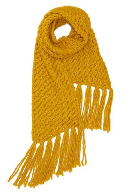 Yellow Retro Scarf tulle clothing knit picky scarf in yellow mod retro
