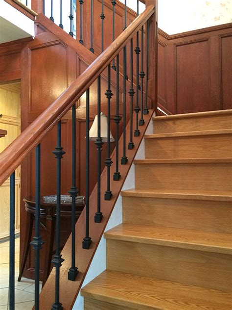 Stain Stair Railing Capping Refacing Box Stair New Stringers Solid Oak