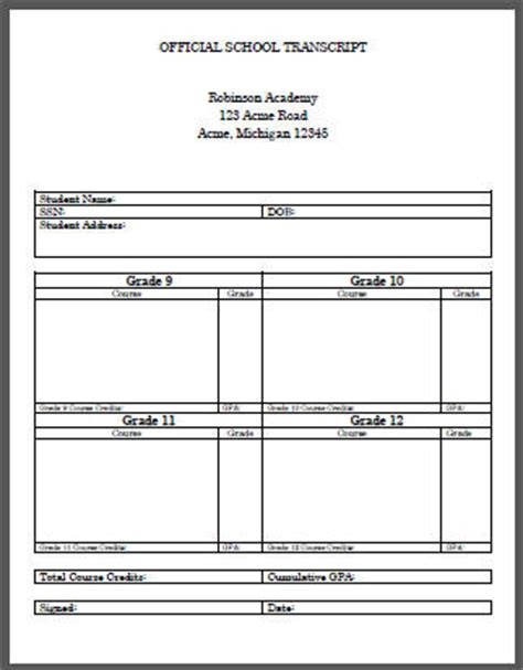 official transcript template high school transcript template