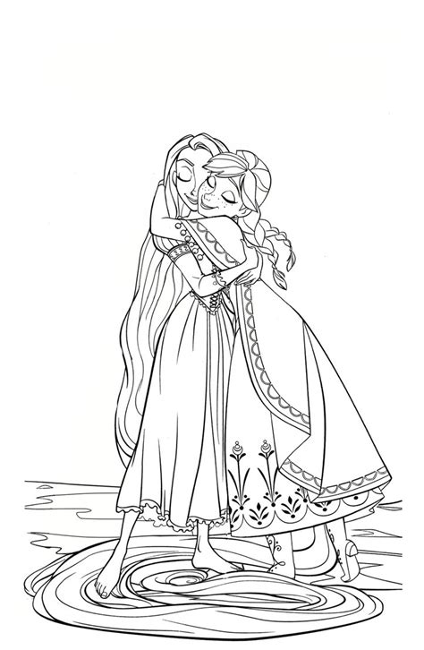 elsa and anna hugging coloring pages coloring page annaxrapunzel hug by cancersyndromedits on