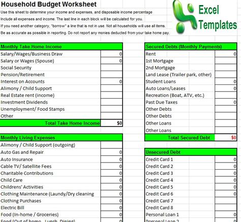 house budget template free simple household budget template
