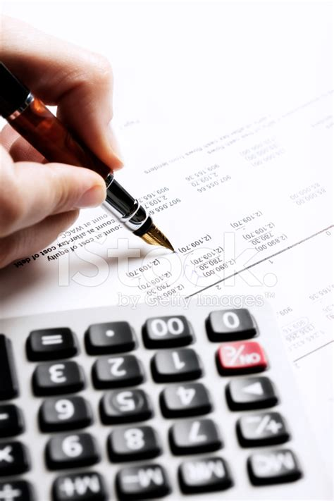Background Check Financial S Checks Financial Spreadsheet With Calculator Standi Stock Photos