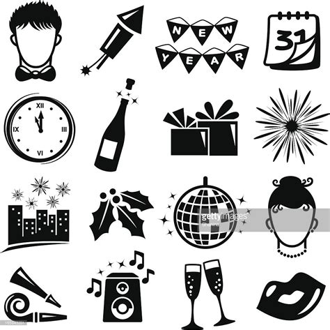 new year icon new year icons set vector getty images