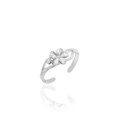 14k white gold plumeria adjustable toe ring