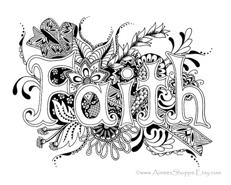 zentangle faith print pen and ink drawing by aimeesshoppe