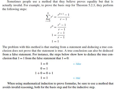 tutorial questions on mathematical induction discrete mathematics confusion from a textbook comment