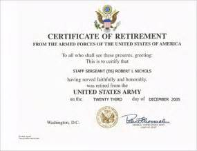 Retirement Template by 9 Retirement Certificate Templates Free Pdf Format