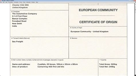 how to complete a european community certificate of origin