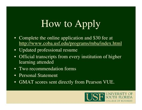 Usf Mba Application Form by Usf Mba Program 2009 2010