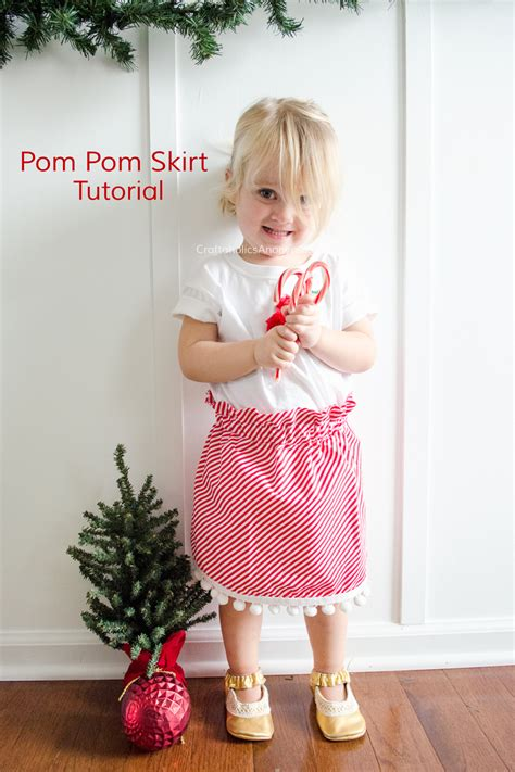 toddler paper bag skirt pattern craftaholics anonymous 174 candy cane stripe and pom pom