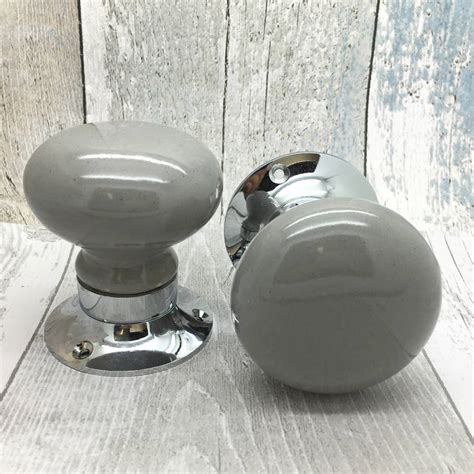 grey mortice ceramic doors knobs set for entrance doors by