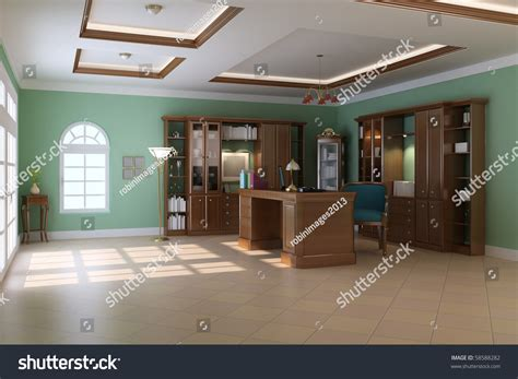 study room interior design 3d rendering view 3d house 3d render interior luxury classic study stock illustration