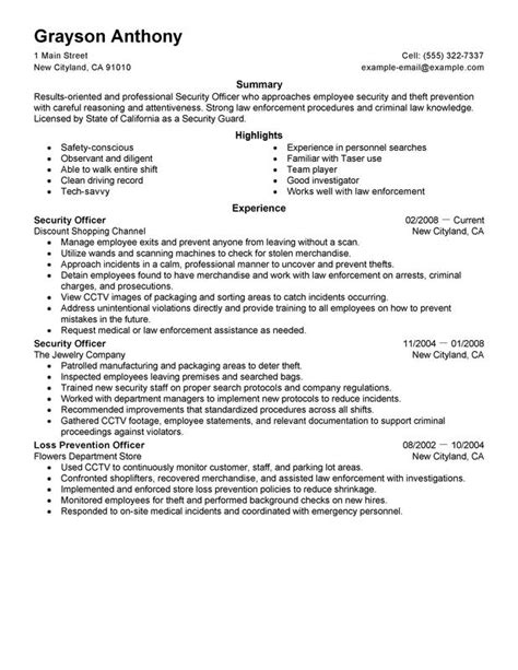 sle resume for hotel security officer security officers resume exles free to try today myperfectresume throughout resume for
