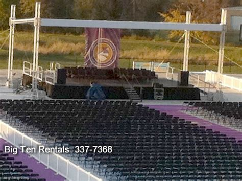lighting and sound equipment rental stage with trussed roof iowa city cedar rapids party