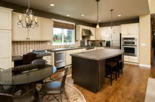 eat kitchen island with two pendant lights hanging above small gray and white design transitional