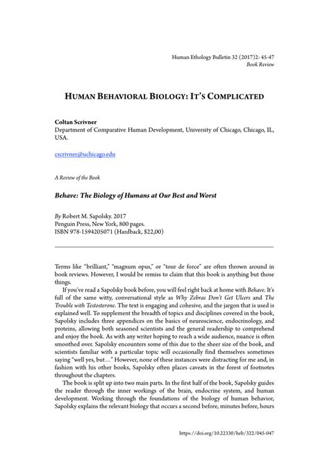 (PDF) Human Behavioral Biology: It's Complicated [Review