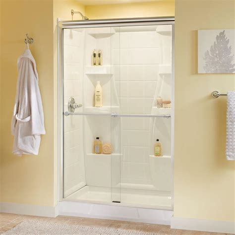 Delta Shower Door Delta Silverton 48 In X 70 In Semi Frameless Sliding Shower Door In Chrome With Clear Glass